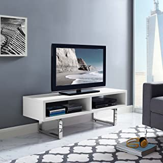 Modway Amble Contemporary Low Profile 47 Inch TV Stand in White
