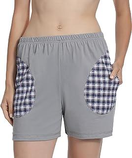Pacco da 2 Genuwin Pigiama Pantaloni Corti Soft da Donna Design Elegante Femminile Pantaloncini di Cotone Raffinato per Casa Super Soft Resistente Antisudore Comodo