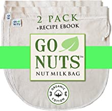 """2-PACK 100% ORGANIC COTTON Nut Milk Bag - Restaurant Commercial Grade by GoNuts - 12""""x12"""" Cheesecloth Strainer Filter For ..."""