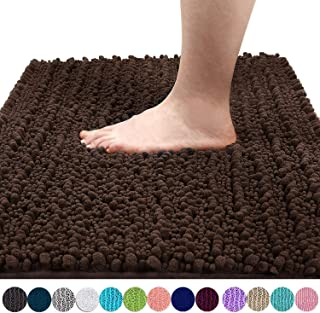 Yimobra Original Luxury Chenille Bath Mat, Soft Shaggy and Comfortable, Large Size, Super Absorbent and Thick, Non-Slip, Machine Washable, Perfect for Bathroom (31.5 X 19.8 Inches, Brown)