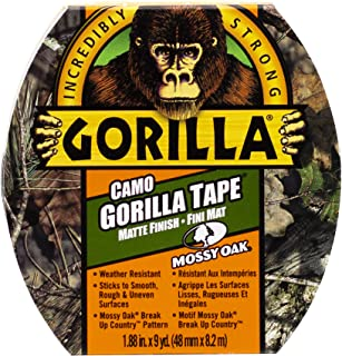 Gorilla Tape Camouflage, Heavy Duty Backing, UV & Water Resistant, Indoor & Outdoor, Matte Finish, Mossy Oak Print, 1.88 i...