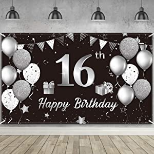 Happy 16th Birthday Backdrop Banner Extra Large Fabric Black Silver 16th Birthday Sign Poster Photography Background Backdrop Banner for Sweet 16th Birthday Anniversary Party Decor, 72.8 x 43.3 Inch