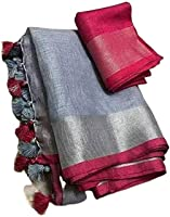 HAIDER ALI AND SONS Women's Cotton Linen Slub Bhagalpuri Saree with Blouse Piece (Grey)