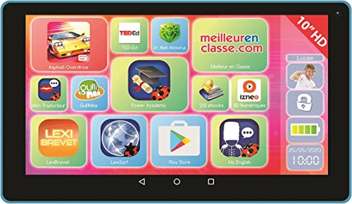 lexitab 10 Tablet Touchscreen Kinder, Inhalt lehrreich und witziger Kontrolle Parental Android, WiFi, Blautooth, Google Play, YouTube ref. mfc512