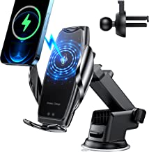 Wireless Car Charger Mount-Auto-Clamping Smart Sensor 10W Qi Fast Charging Car Front Windshield Dashboard Air Vent Phone Holder Compatible with iPhone12/12 pro max/Samsung S20 4.7-6.7 Inch Smartphone
