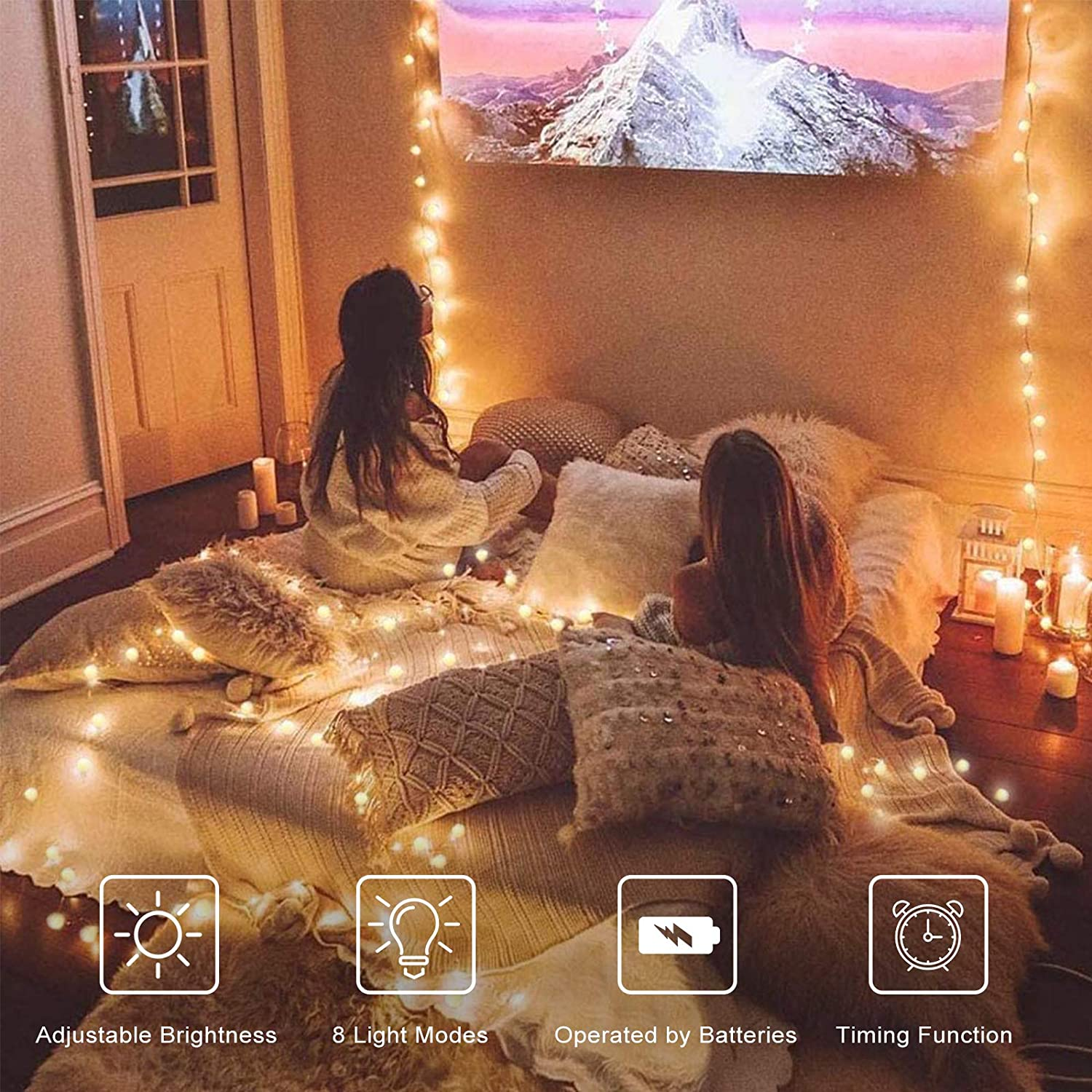 Globe String Lights, 32.8 ft 80 LED Battery Operated Fairy Twinkle Light with Remotes& Timer Christmas Lamp for Bedroom Canopy Ceiling Party Wall Wedding Backdrop Decor, Warm White, 8 Lighting Modes : Garden & Outdoor