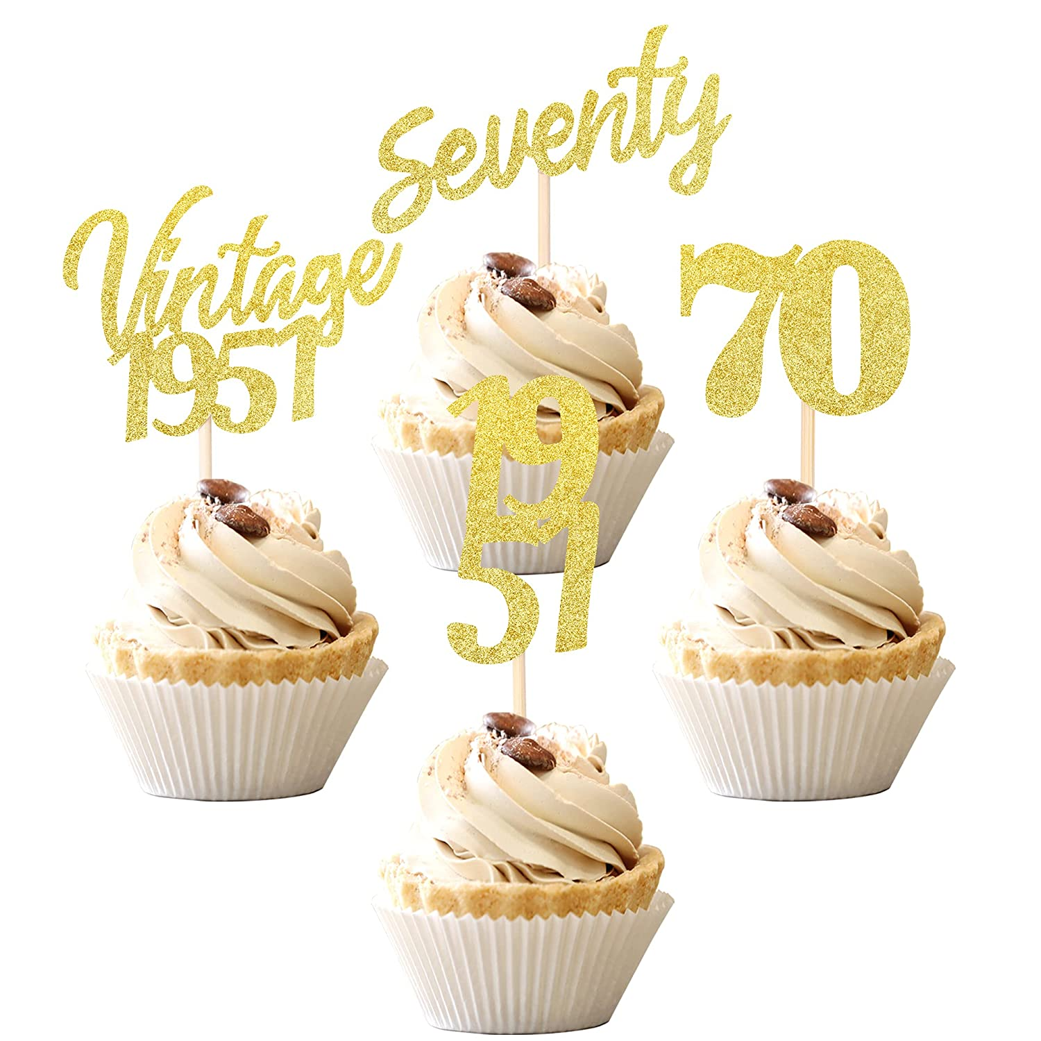 24 PCS Vintage 1951 Cupcake Toppers Popular standard Cheers 70 Sevent El Paso Mall to Fabulous