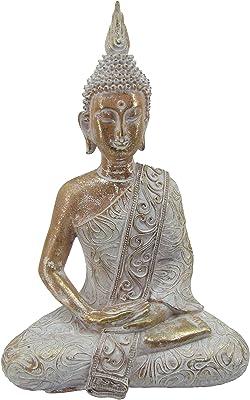 "Comfy Hour Resin 15"" Buddha Sits in Meditation Figurine"