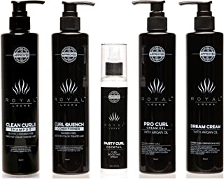 Complete Curly Hair Products Set by Royal Locks Two Curl Creams Curling Spray Sulfate and Paraben Free Shampoo and Conditioner for Healthy Natural or Perm Curls