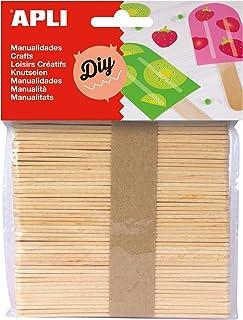 APLI 13063 - Sachet de 50 Bâtonnets en bois naturel pour loisirs créatifs et artisanat