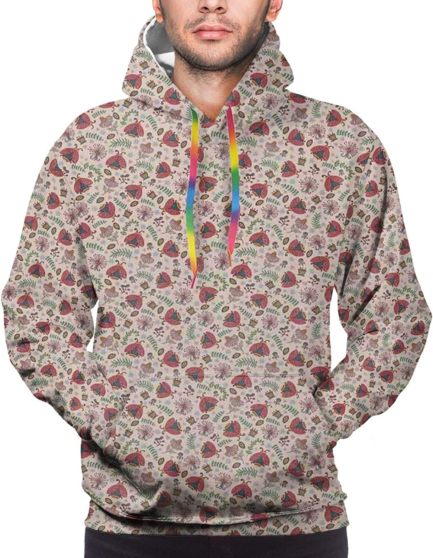 Men's Hoodies Sweatshirts,Botanical Artistic Soft Nature Daisies Lilies Blue Pink Blossoms