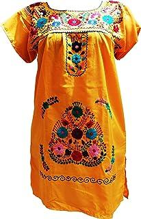 فساتين مكسيكية للنساء فستان مطرز قصير تقليدي لحفلات العيد المكسيك أصفر