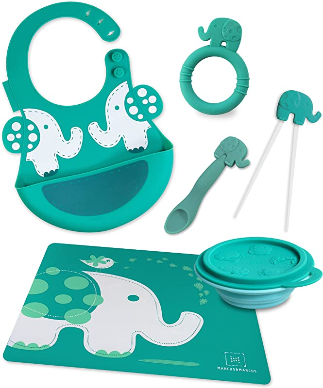 Marcus Marcus OLLIE THE ELEPHANT Silicone Baby Feeding 6 Pack Green