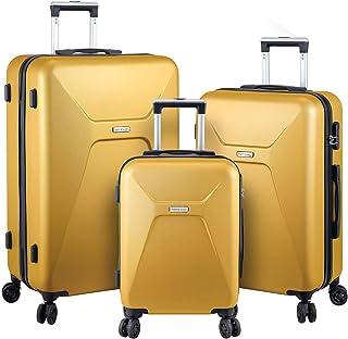 Luggage Set Hard Shell With Spinner Goodyear Wheels - Integrated TSA lock - Set of 3 Pieces - Hard Case META - Mustard Yellow