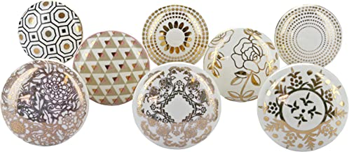 Set of 8 Royal Gold Ceramic Door Knobs Vintage Shabby Chic Cupboard Drawer Pull Handles by G Décor