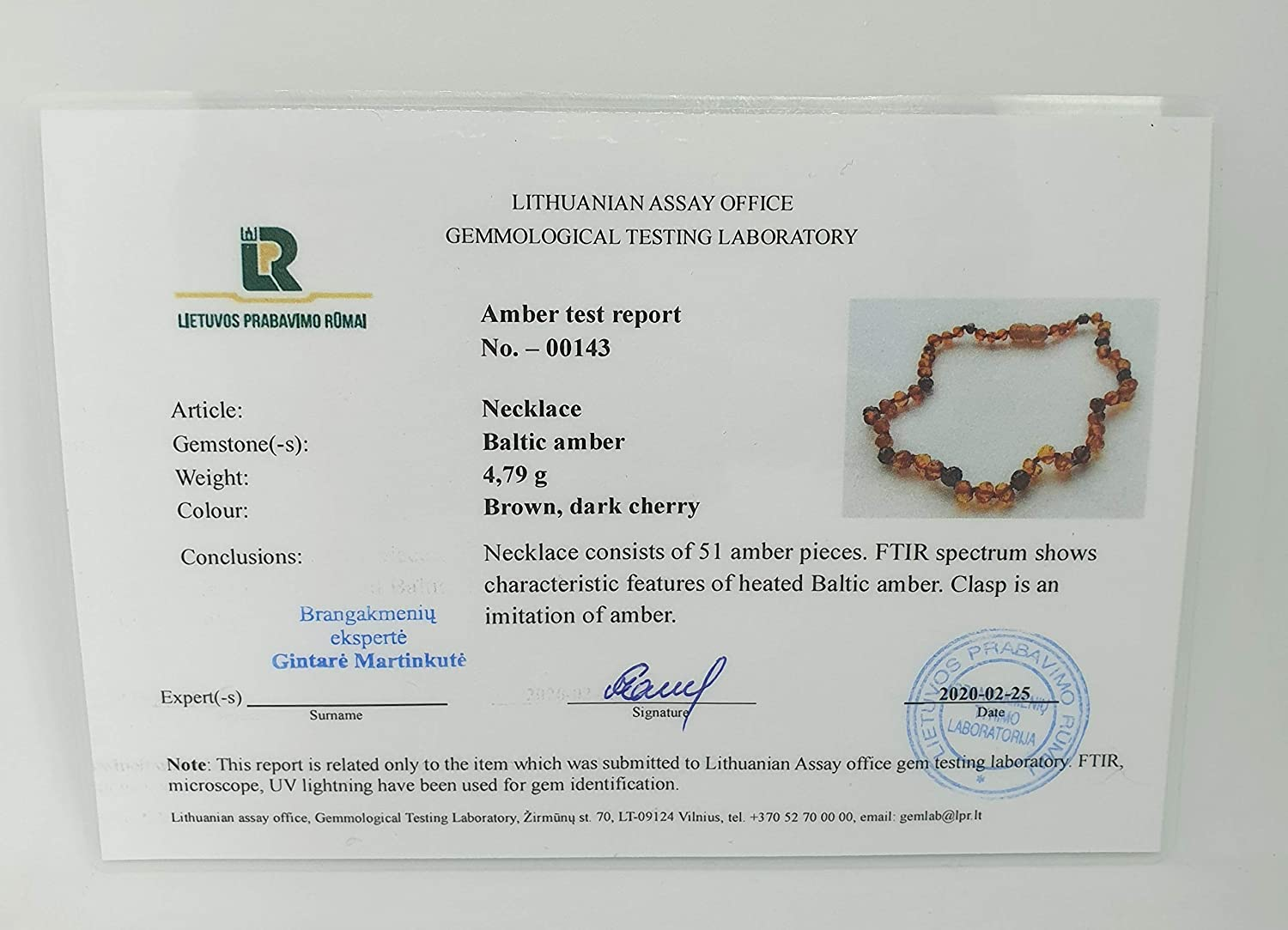 Genuine Amber Necklace from Baltic Sea Made with Polished Cherry and Sunstone 34 cm (13.4 Inches)