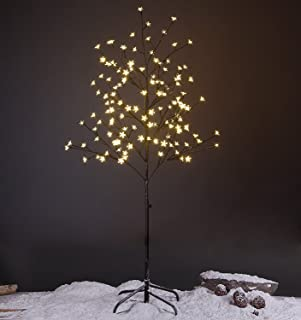 LIGHTSHARE 5FT LED Star Light Tree, Warm Light, Brown