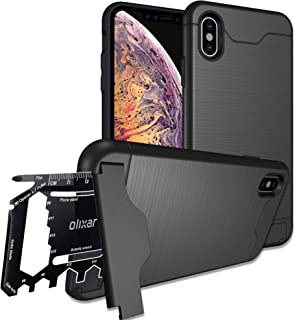Olixar for iPhone Xs Max Tough Case - with 26 in 1 Survival Multi Tool - Protective Armour Cover - Credit Card Slot & Built in Stand - X-Ranger - Black