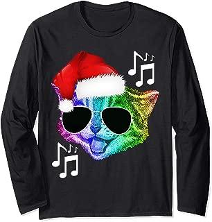 Funny Colorful Rainbow DJ Music Kitty Cat Christmas Santa Long Sleeve T-Shirt