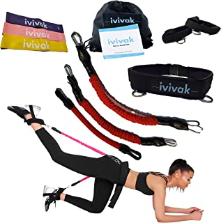 ivivak Booty Belt with Full Workout Guild and Resistant Band for Leg &Butt Lifter, 5 Adaptable Levels of Resistance for Hip Training and Tone Your Glutes. Idea Bands for Glute Workout, Abs& LowerBody