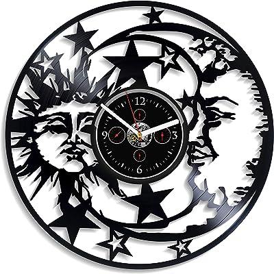 HandmadeCorp Astrology Wall Clock Vintage Vinyl Record Retro Sun And Moon Art Nature Sky