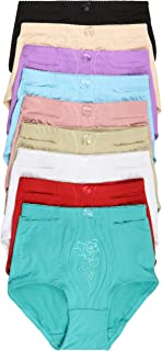 ToBeInStyle Women's 6 Pack High Waist Concealed Slit Pockets Elegant Print Girdle Briefs