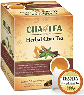 Cha4TEA 36-Count Herbal Chai Tea Pods for Keurig K-Cup Brewers