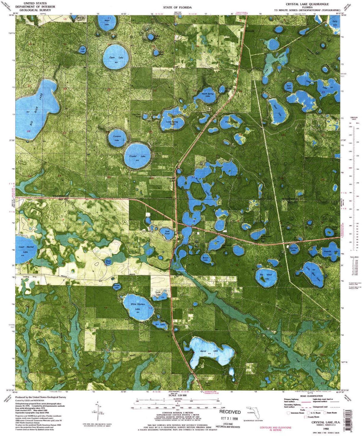 YellowMaps Crystal Lake FL topo map X Store Scale 7.5 1:24000 Super-cheap Mi