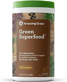 Amazing Grass Green Superfood: Super Greens Powder with Spirulina, Chlorella, Digestive Enzymes & Probiotics, Chocolate, 60 Servings