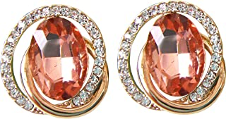 Navachi 18k Gold Plated White Crystal Oval Zircon Double Circle Stud Earrings
