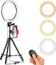 "12"" LED Selfie Ring Light with Tripod Stand & Cellphone Holder for Live Stream/Makeup/YouTube Video, Dimmable Beauty Ringl..."