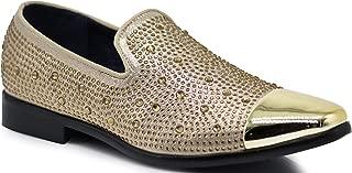 SPK12 Men's Vintage Fashion Sparkle Rhinestone Patent Toe Designer Dress Loafers Slip On Shoes Classic Tuxedo Dress Shoes