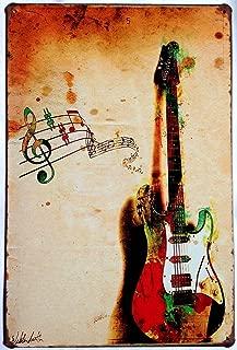 ARTCLUB The Guitar Metal Tin Sign, Vintage Poster Plaque Living Room Bedroom Study Bar Home Wall Decor