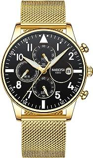 Mens Watches Chronograph Business Dress Analog Quartz Watch Men Luxury Brand Date Sport (Gold Black)