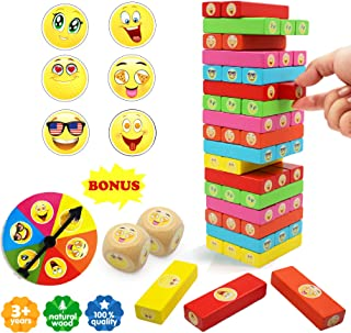 ShooBacK Colored Wooden Blocks, Stacking Board Toy, Rainbow Kapla Building Blocks, Kids Toy Game for Boys and Grils at Age 3,4,5,6,7,8,10,11,12,13,14,15 with 51 Pcs. Bonus Roulette and Extra Dice