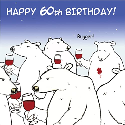 Twizler Funny Birthday Card With Polar Bear And Wine 60th Humour