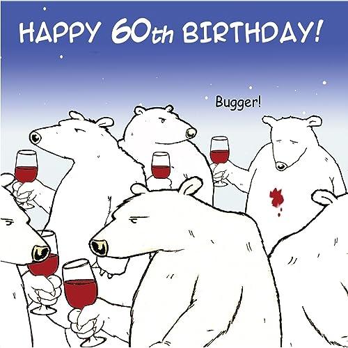 Twizler Funny Birthday Card With Polar Bear And Wine 60th Humour