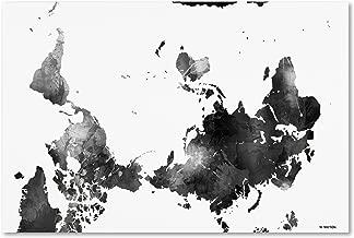 Upside Down Map of the World BG-1 by Marlene Watson, 30x47-Inch Canvas Wall Art
