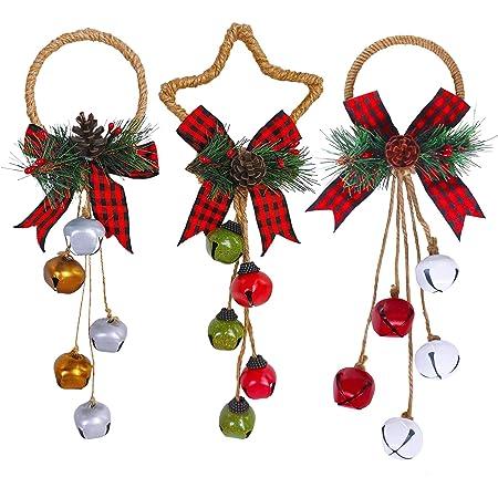 jojofuny Christmas Jingle Bell Ornaments Sleigh Bells Door Hangers Door Greeter Door Knob Hanging Decorations Christmas Tree Fireplace Holiday Party Supplies Favors