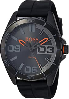 BOSS Orange Men's Stainless Steel Quartz Watch with Leather Calfskin Strap, Black, 24 (Model: 1513452)
