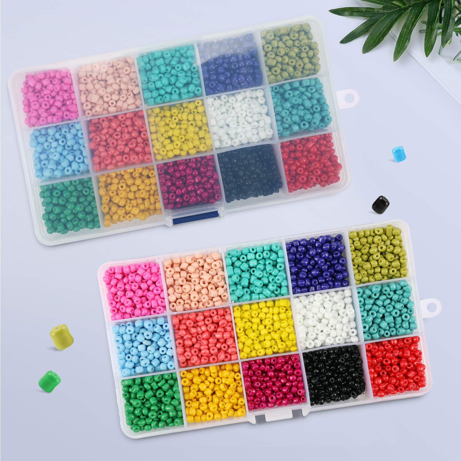 Hole 1.0mm Glass Seed Beads 3mm Ewparts Glass Beads for Friendship bracelet Transparent,300pcs//Color, 15 Colors