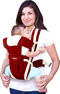 LuvLap Elegant Baby Carrier with 4 carry positions, for 4 to 24 months baby, Max weight Up to 15 Kgs (Red)