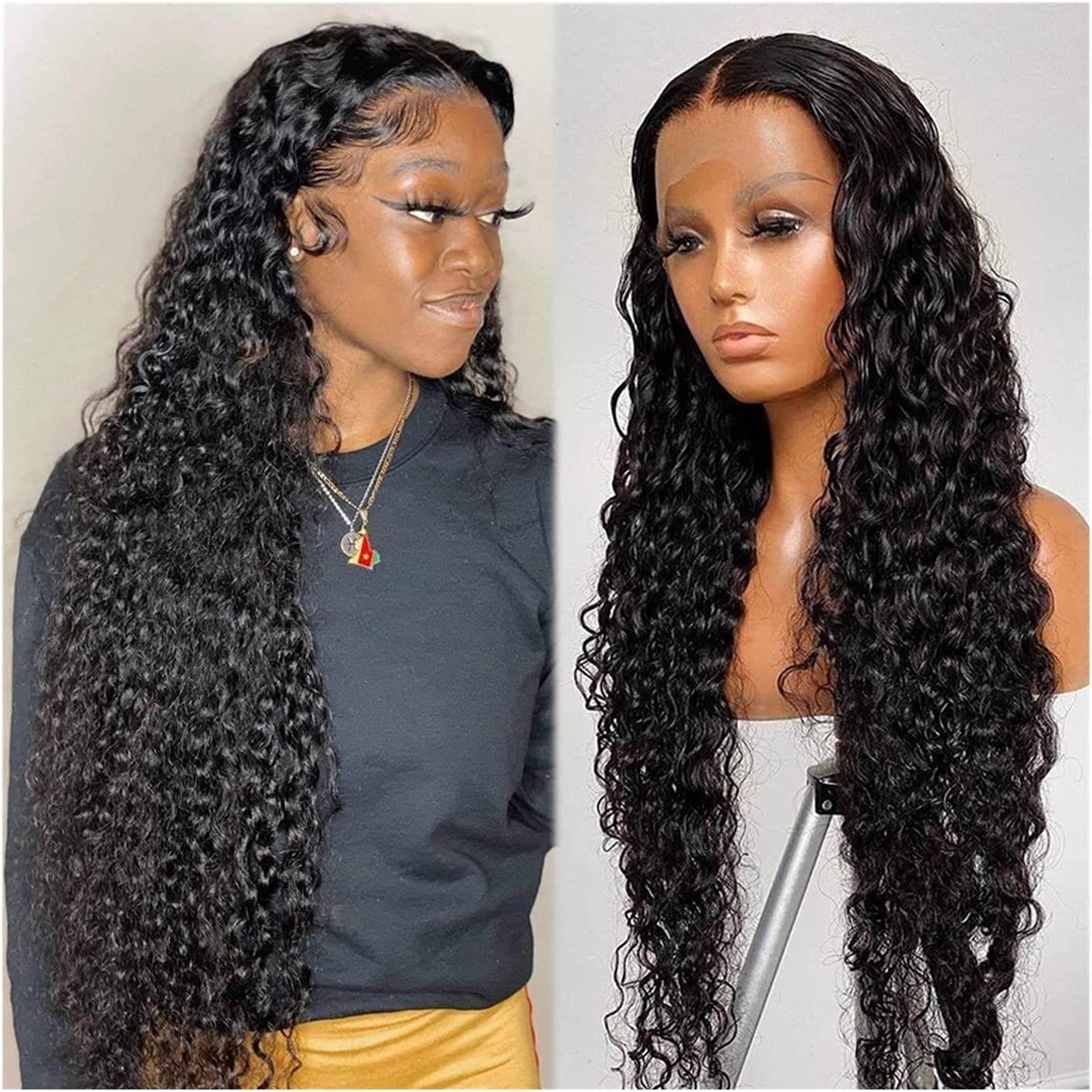 WDZJM Finally resale start Wig Water Wave Lace Max 43% OFF Human W Transparent Hair Forehead