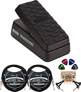 Jim Dunlop DVP4 Volume (X) Mini Pedal for Electric Guitars Bundle with Blucoil 2-Pack of 10-FT Mono Instrument Cables, 2-Pack of Pedal Patch Cables, and 4-Pack of Celluloid Guitar Picks