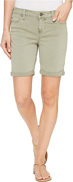 Corine Walking Shorts Rolled-Cuff in Stretch Peached Twill in Shadow Green