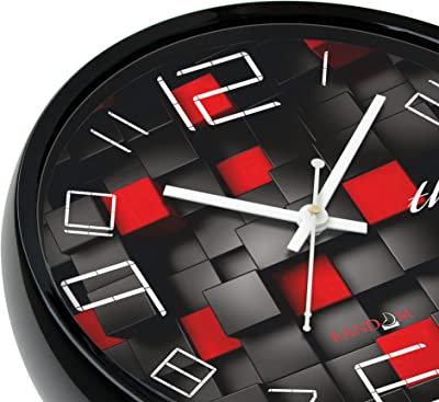 Random Black Diamond Round Plastic Wall Clock (28 cm x 28 cm x 5 cm, Black)