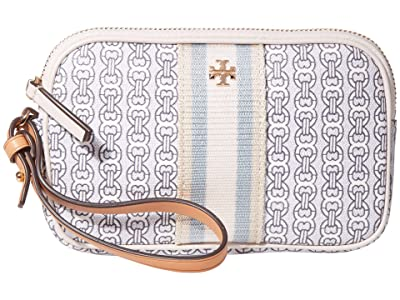 Tory Burch Gemini Link Canvas Wristlet (New Ivory Gemini Link) Handbags
