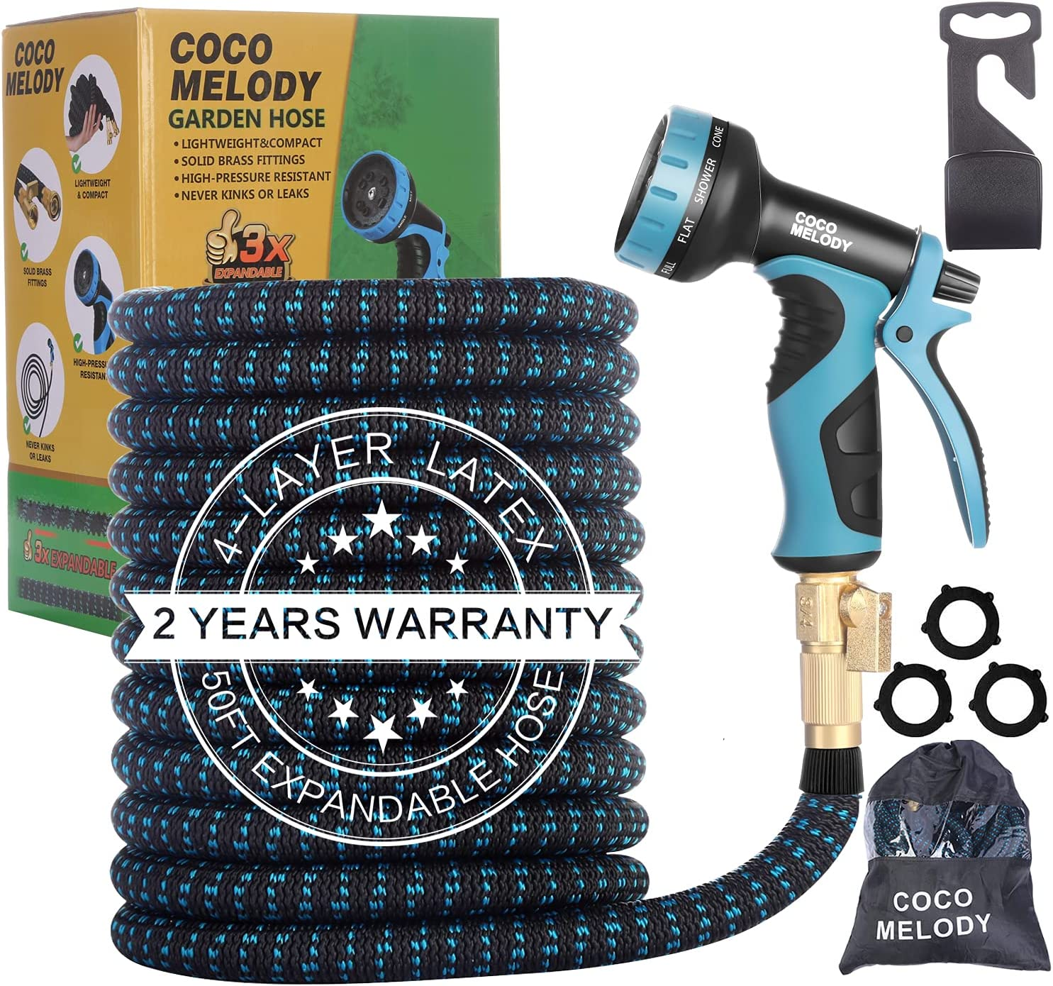 50FT Expandable Garden Hose, Flexible Water Hose with 10-Pattern Spray Nozzle, Leak-proof Retractable Heavy Duty Hose, 4-layer Latex , Durable 3750D, 3/4 Solid Brass Connectors, No-Kink, lightweight