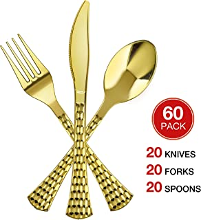Majestic Setting Glamour Gold Disposable Silverware - 60 Piece Disposable Gold Cutlery - Plastic Gold Silverware Set (Includes 20 Gold Forks, 20 Knives, 20 Soup Spoons) Settings for 20 Guests.