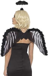 Smiffys Kit de ángel caído, Negro, con alas de Purpurina y Aura de marabú, 70 cm x 45 cm